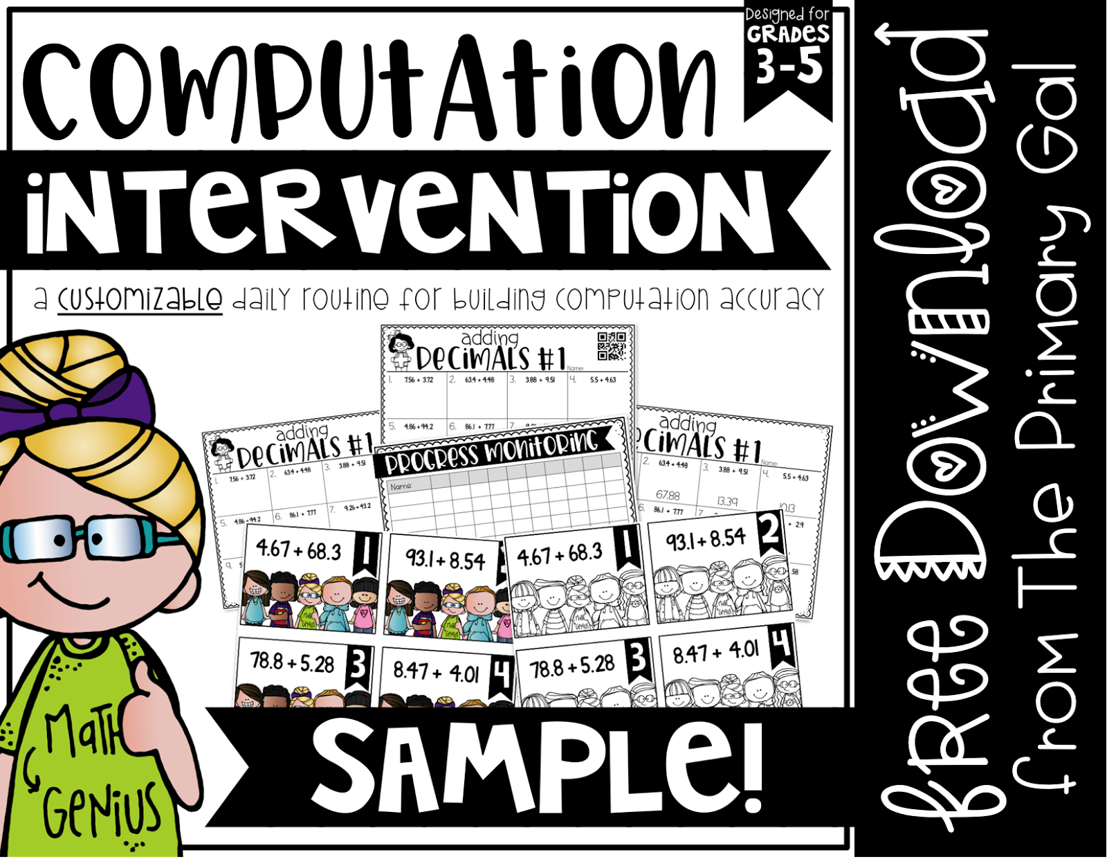 Standardized testing coming up? Looking for help with the basics for computation? Beginning an intervention early, can drastically impact your students test scores. Utilizing a daily problem based on grade level standards and tracking which students are meeting goals, I can further differentiate lessons based on student needs. Be sure to download the freebie to start using this system in your classroom, or download the entire collection. {upper elementary, computation}
