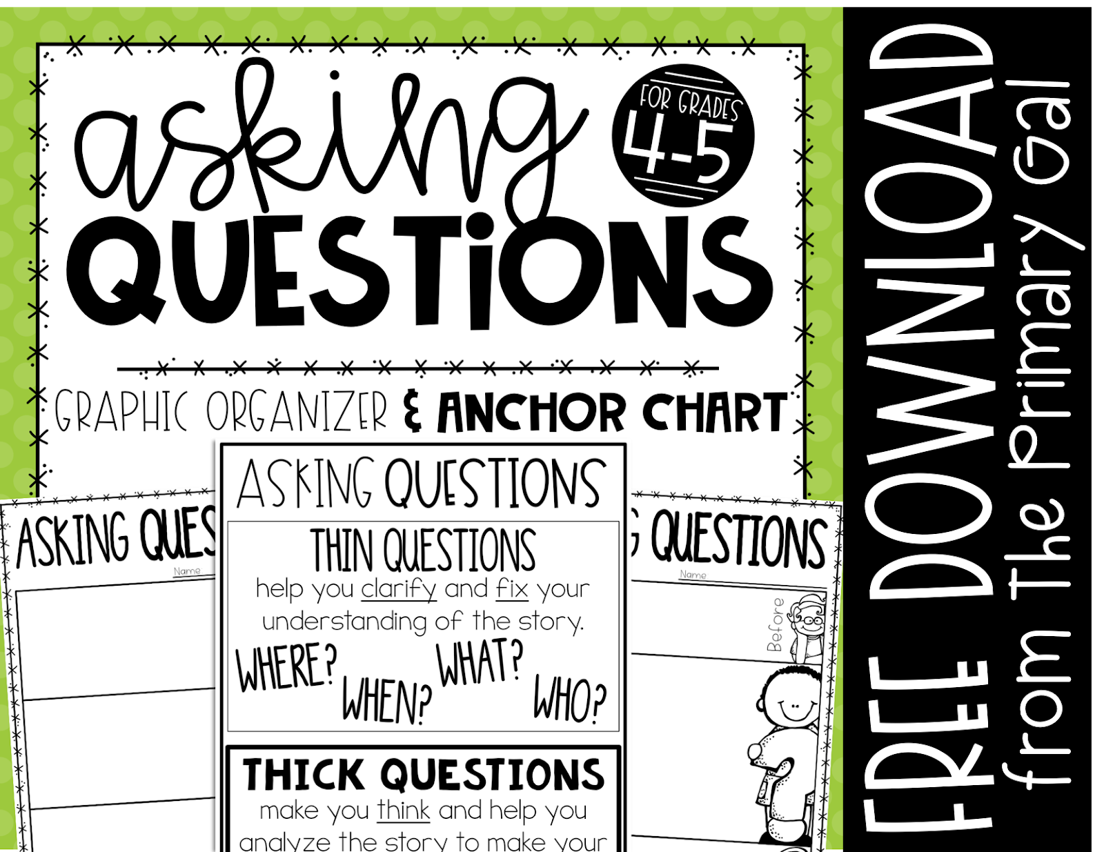 Do your students ask questions? The right questions? Sometimes this reading skill is missed. This blog post and free printable graphic organizers will engage your students in an activity to lead them to asking questions. By demonstrating that asking questions before, during, and after cooking is similar to how you approach questions for a book will help reinforce the lesson.{reading comprehension, fun, graphic organizer, free, printable}