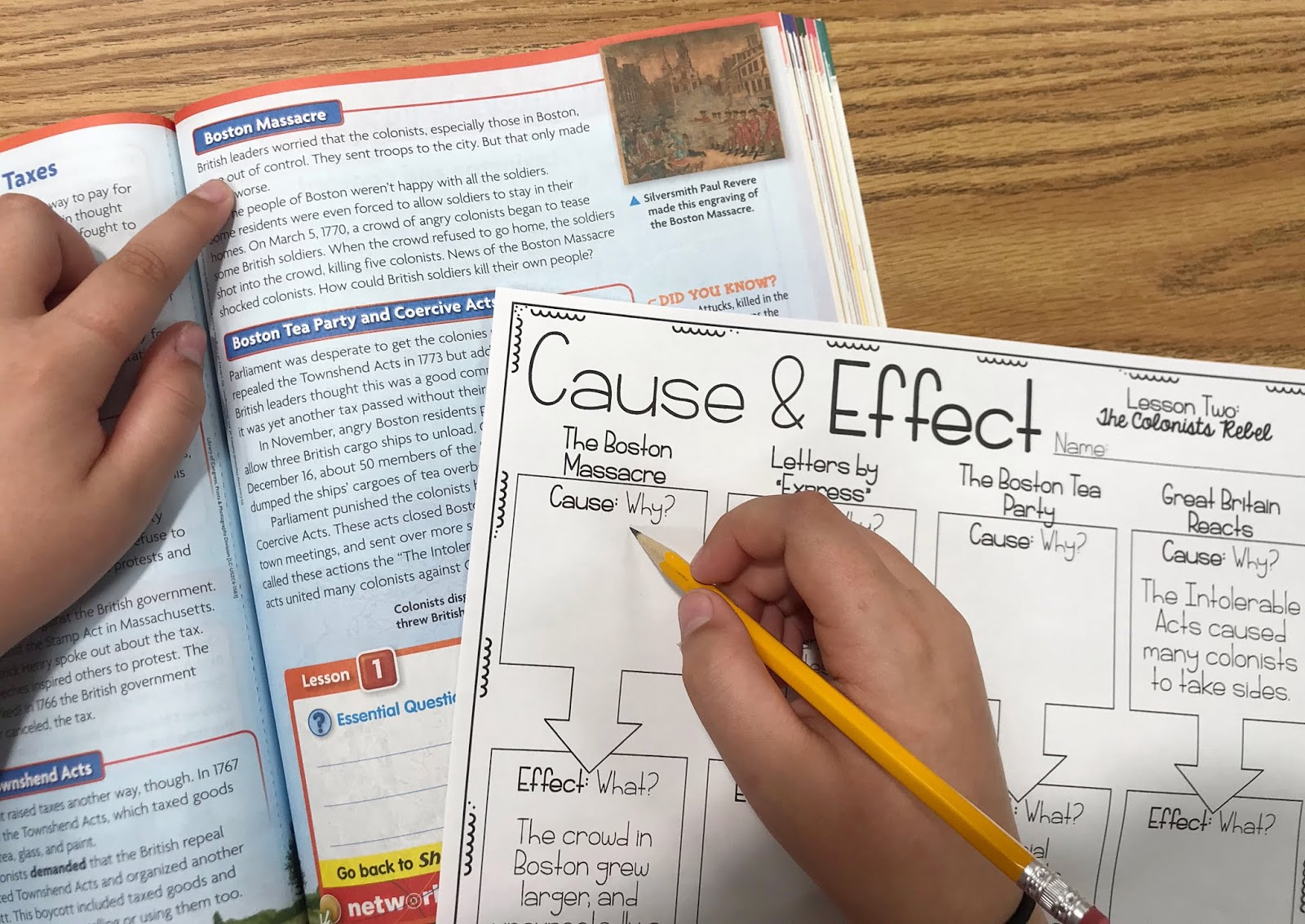 """Social Studies book and Graphic Organizer with text """"Cause &  Effect"""""""