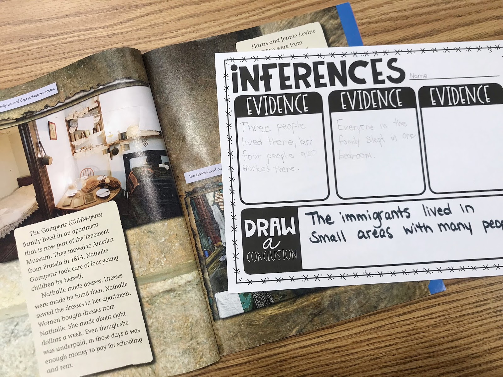 """Social Studies book with a Graphic Organizer with text """"Inferences"""""""