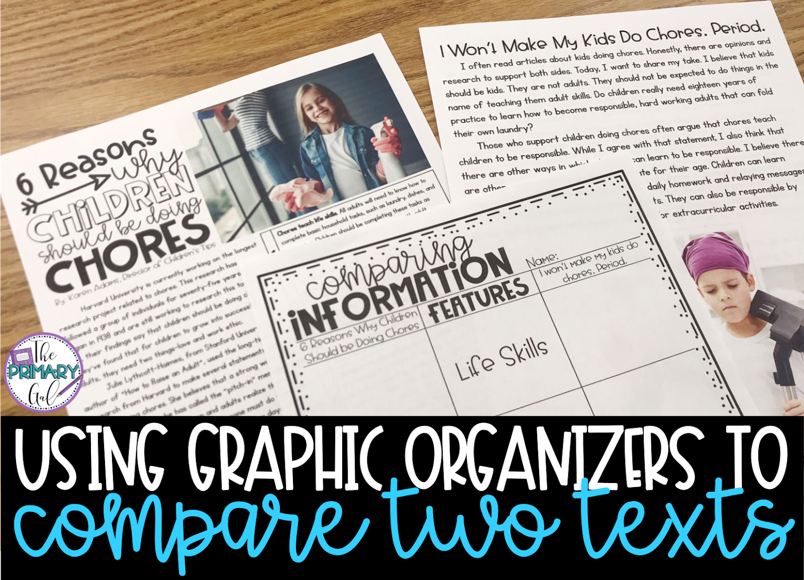 "Two texts and graphic organizer with text ""Using Graphic Organizers to Compare Two Texts"""