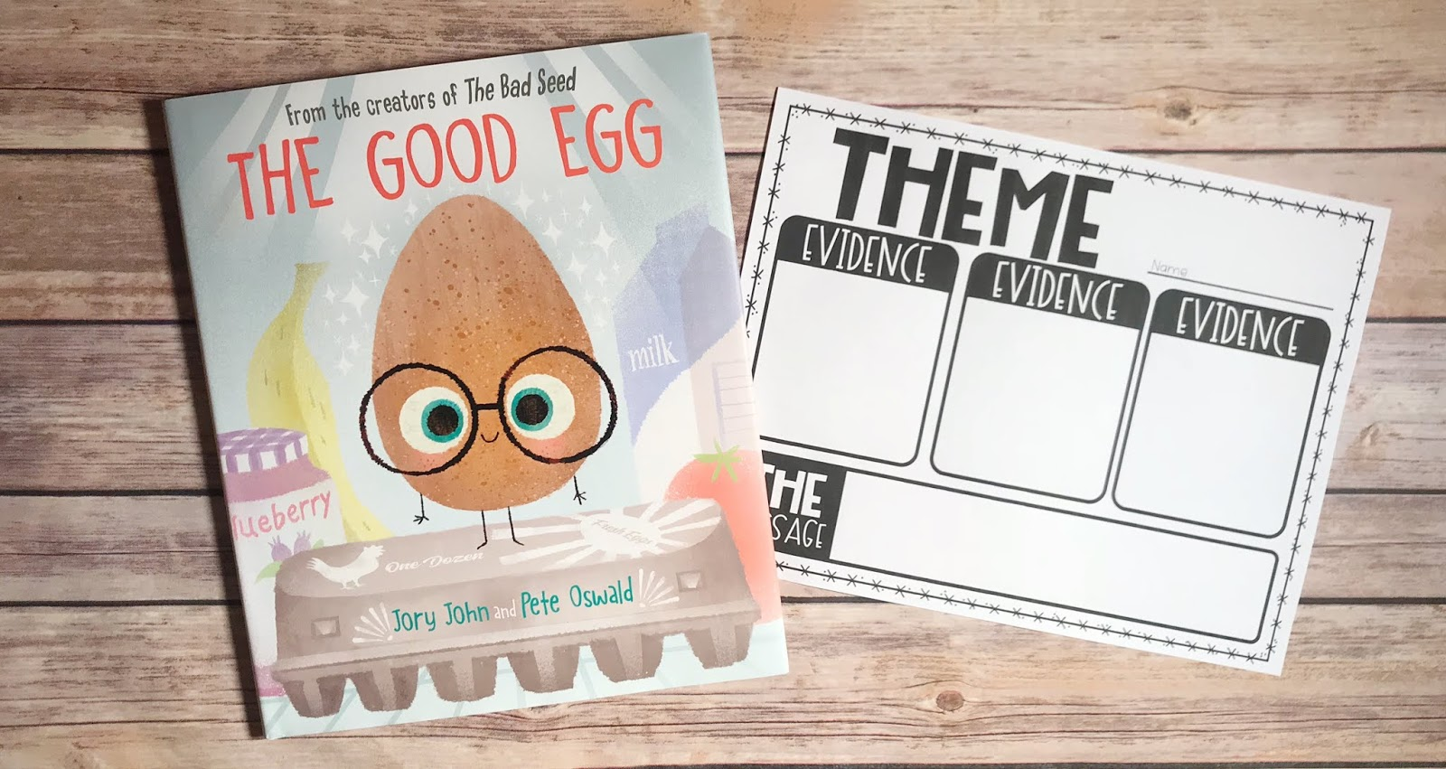 "Picture Book with text ""The Good Egg"" and Theme Graphic Organizer"