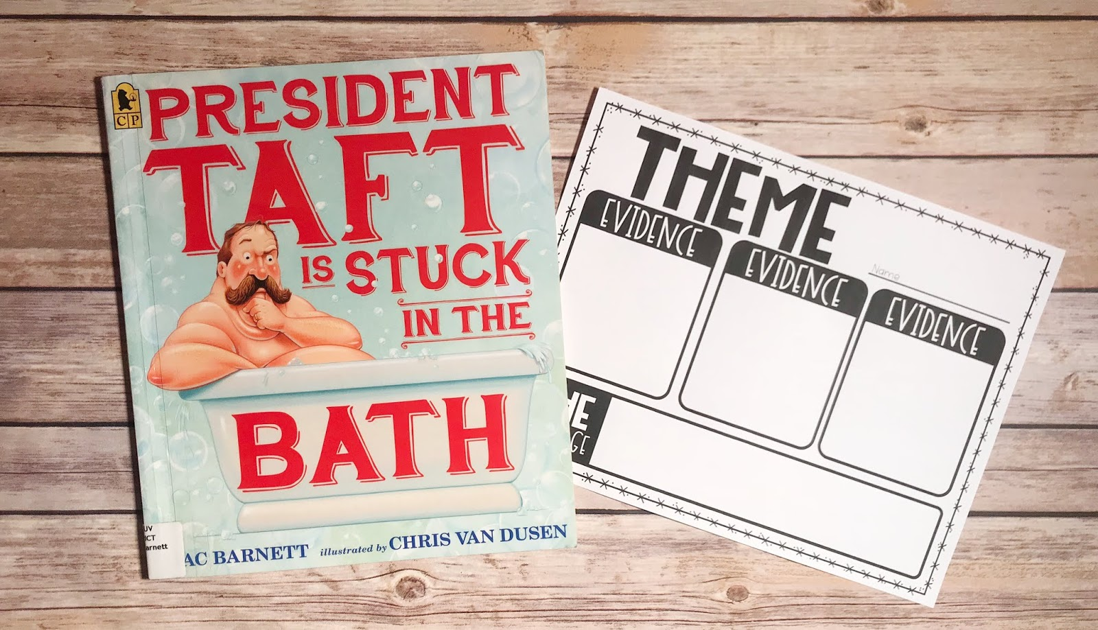 "Picture Book with text ""President Taft is Stuck in the Bath"" and Theme Graphic Organizer"
