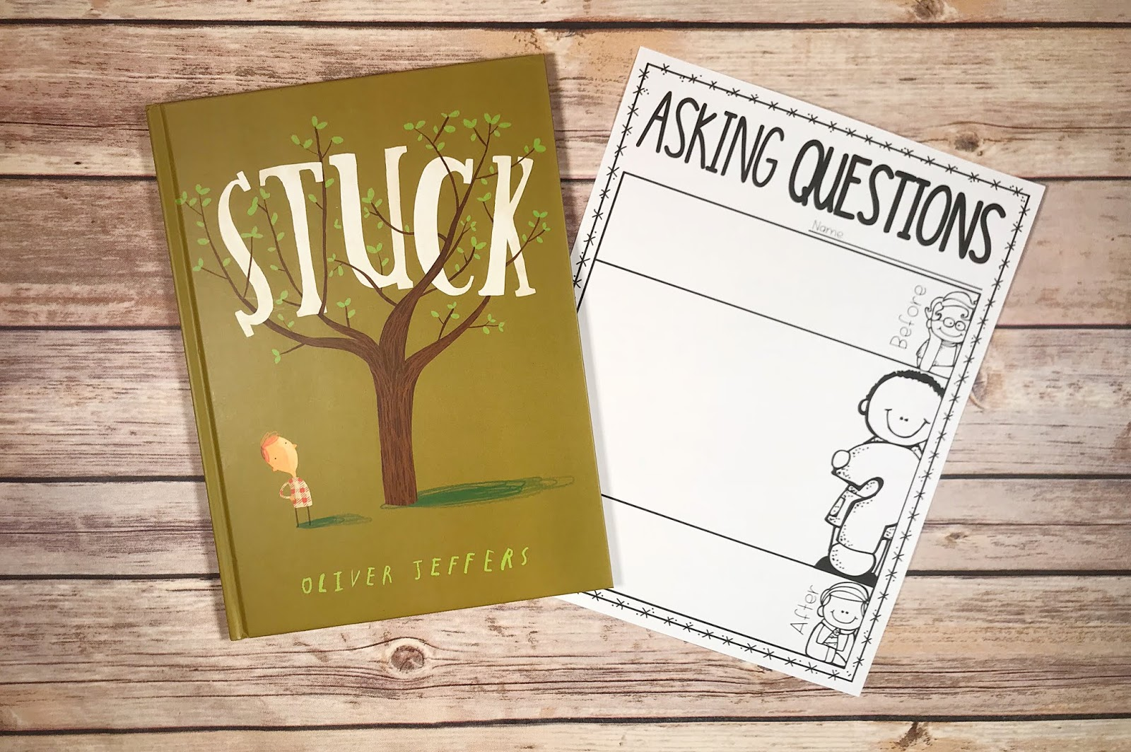 "Picture Book with text ""Stuck"" and Asking Questions Graphic Organizer"