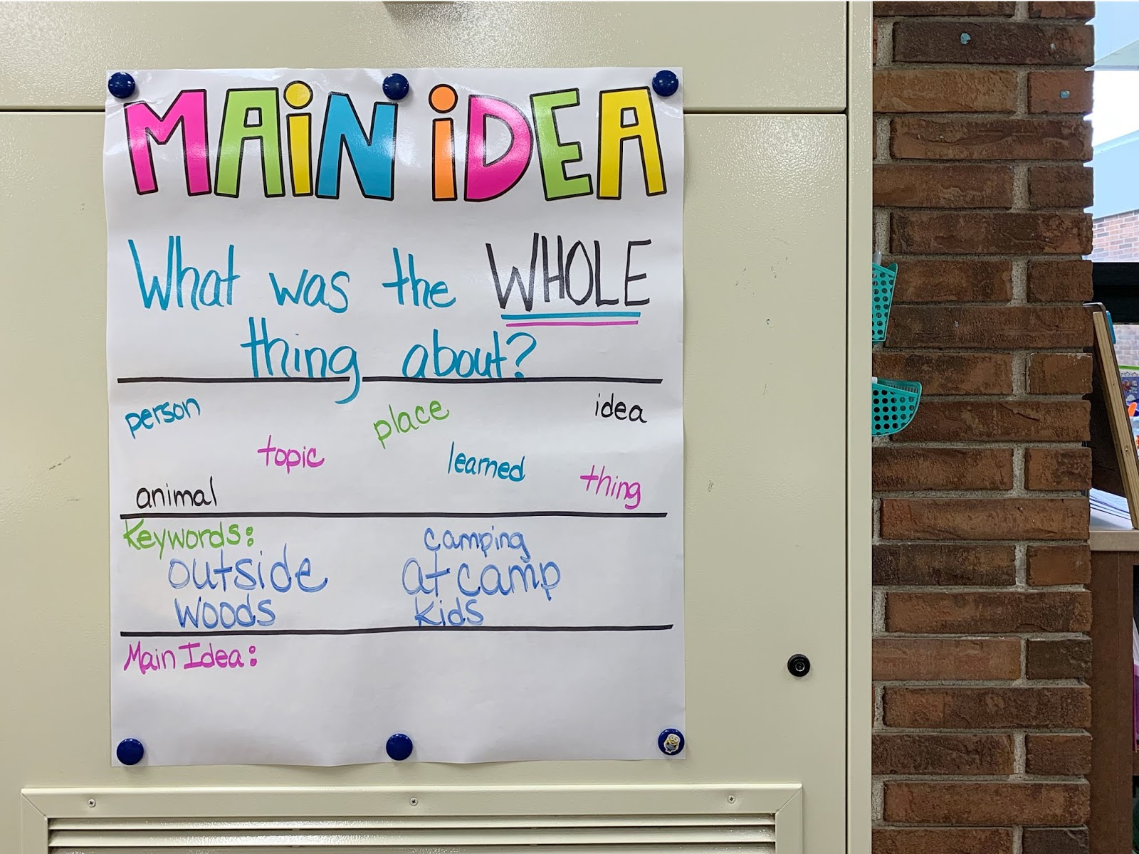 """Main Idea Anchor Chart with text """"What was the WHOLE thing about?"""" and """"Keywords"""""""