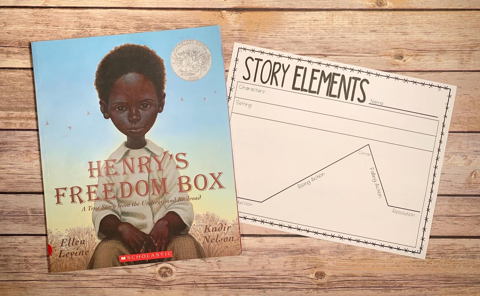 "Mentor Text with text ""Henry's Freedom Box"" and Graphic Organizer with text ""Story Elements"""