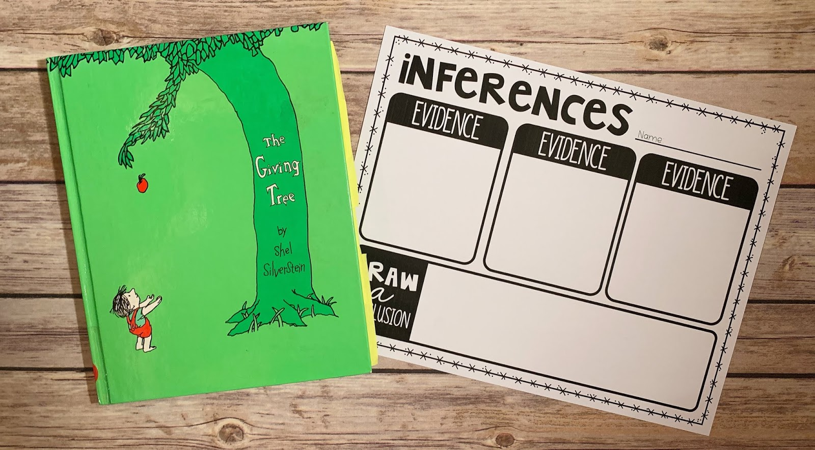"Mentor text with the text ""The Giving Tree"" and graphic organizer with text ""inferences"""