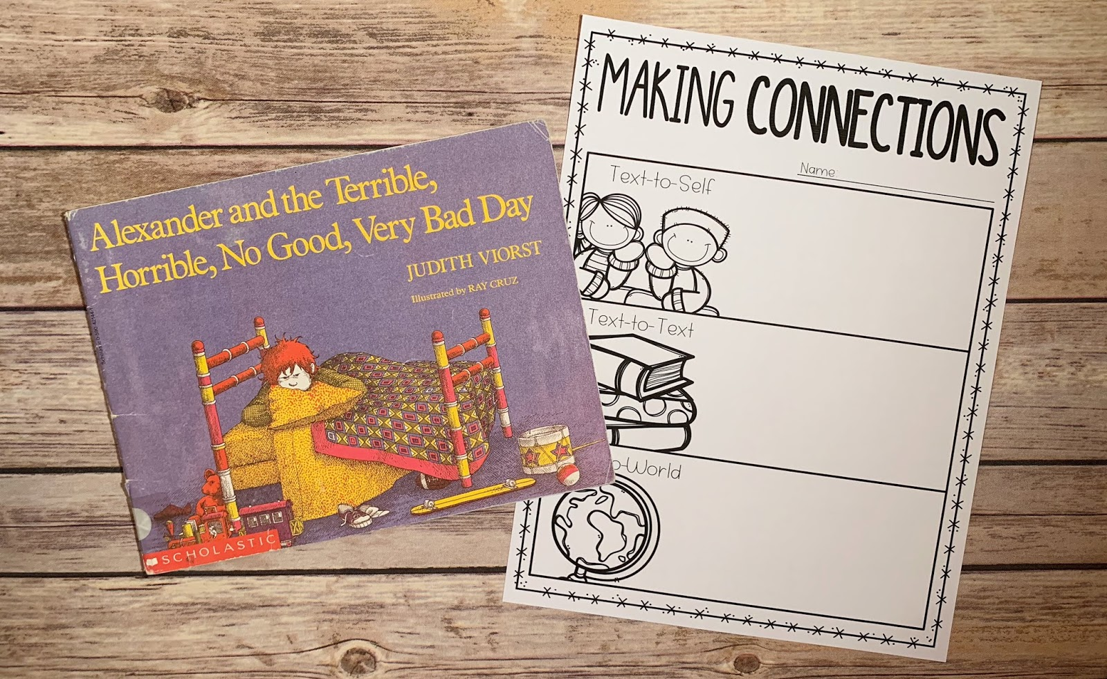 "Mentor text with text ""Alexander and the Terrible, Horrible, No Good, Very Bad Day"" and graphic organizer with text ""Making Connections"""