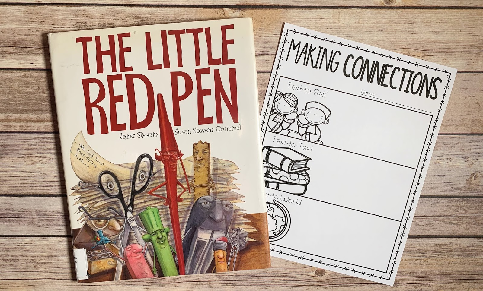 "Mentor text with text ""The Little Red Pen"" and graphic organizer with text ""Making Connections"""