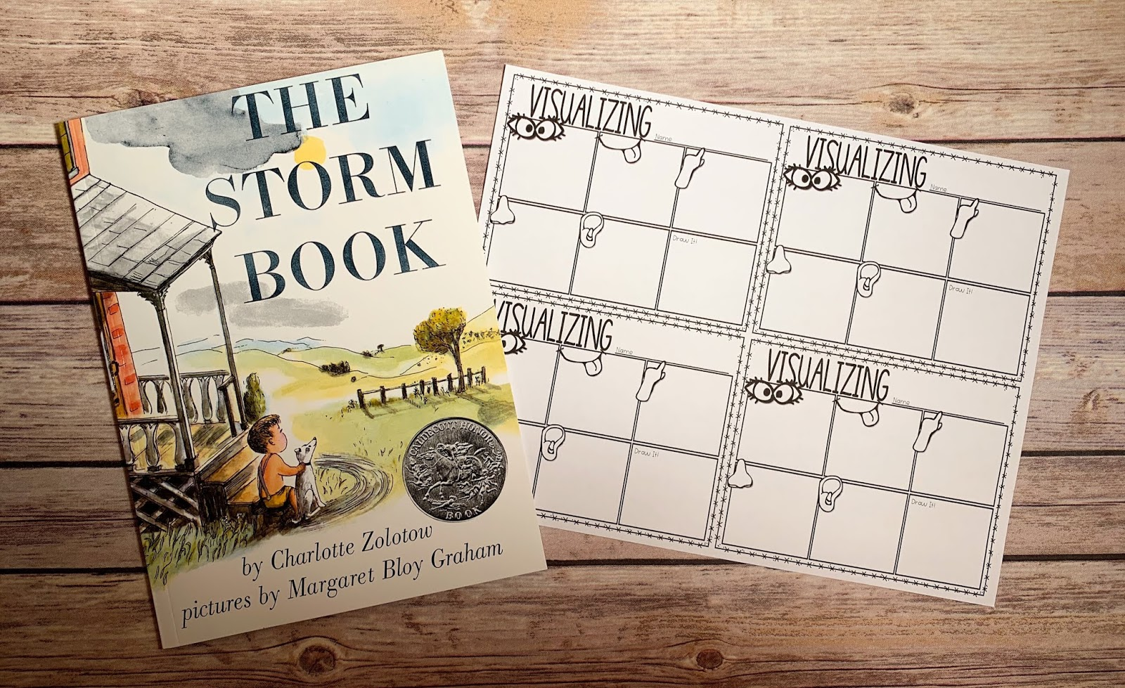 "Mentor Text with text ""The Storm Book"" and Graphic Organizer with text ""Visualizing"""