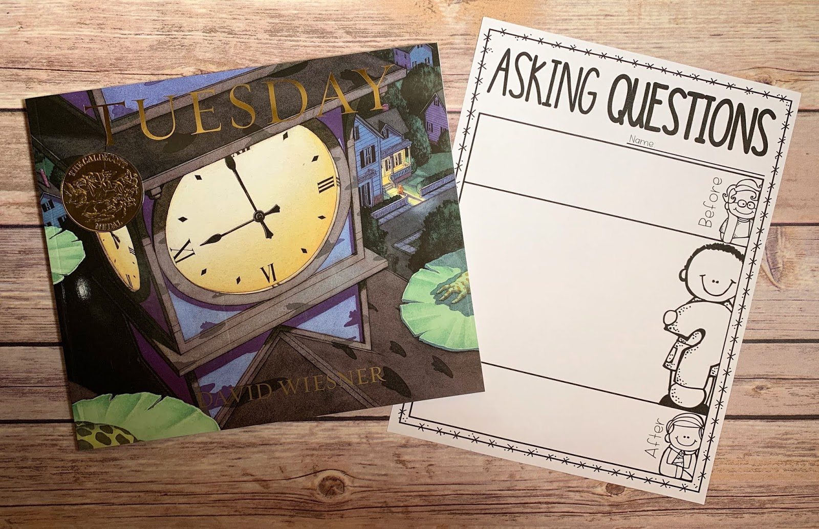 "Mentor text with text ""Tuesday"" and graphic organizer with text ""Asking Questions"""