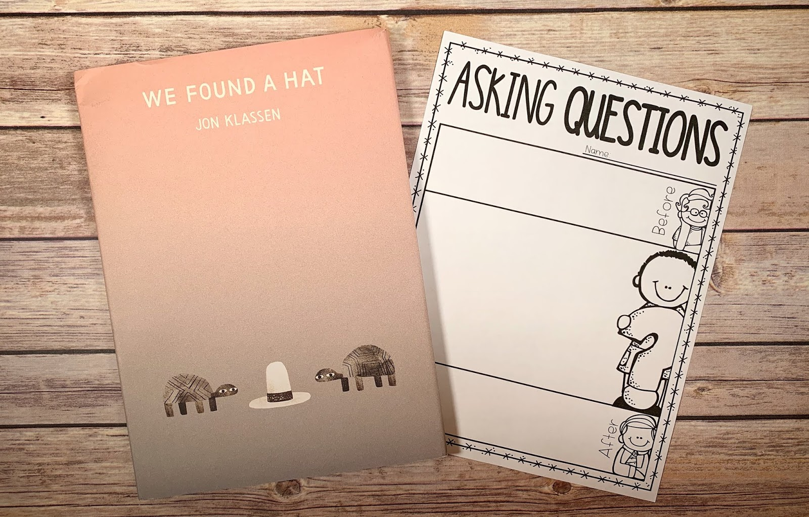 "Mentor text with text ""We Found A Hat"" and graphic organizer with text ""Asking Questions"""
