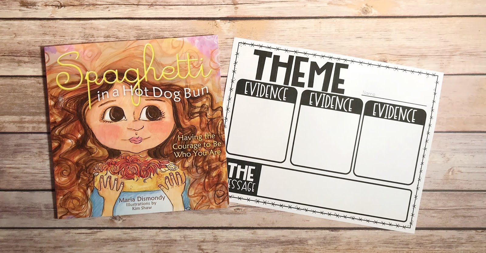 "Mentor Text with text ""Spaghetti in a Hot Dog Bun"" and Graphic Organizer with text ""Theme"""