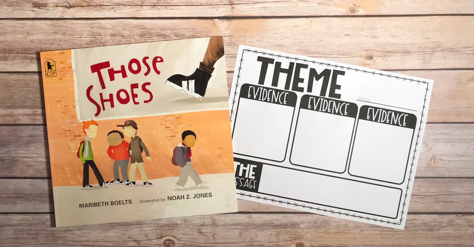 "Mentor Text with text ""Those Shoes"" and Graphic Organizer with text ""Theme"""