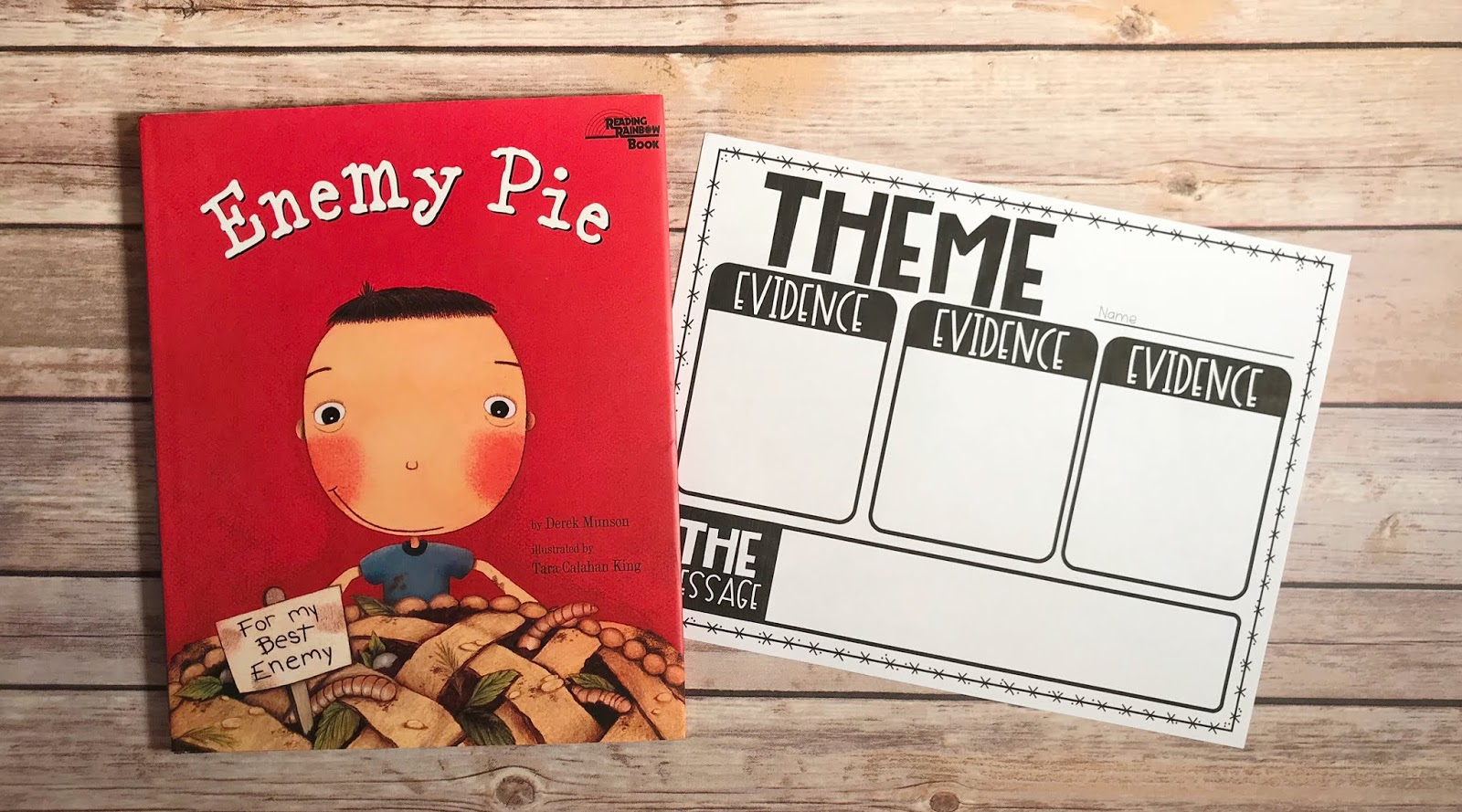 "Mentor Text with text ""Enemy Pie"" and Graphic Organizer with text ""Theme"""
