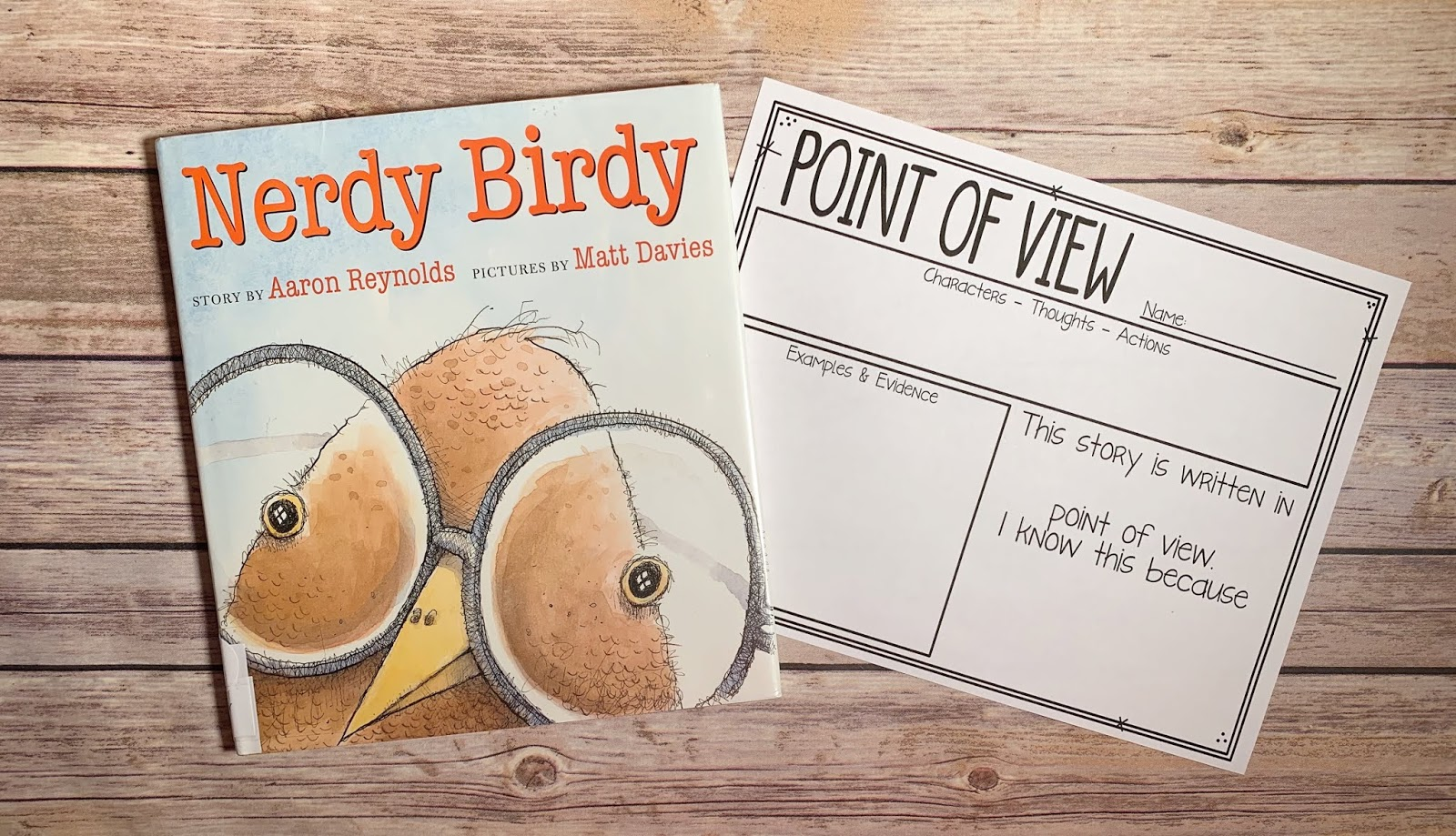 "Mentor Text with text ""Nerdy Birdy"" and Graphic Organizer with text ""Point of View"""
