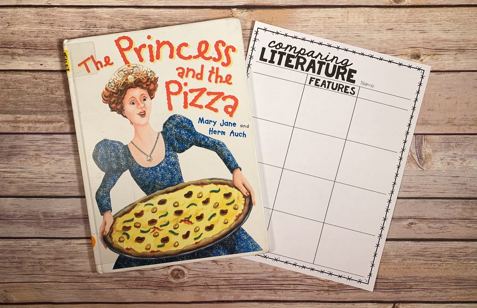 "Mentor Text with text ""The Princess and the Pizza"" and Graphic Organizer with text ""Comparing Literature"""