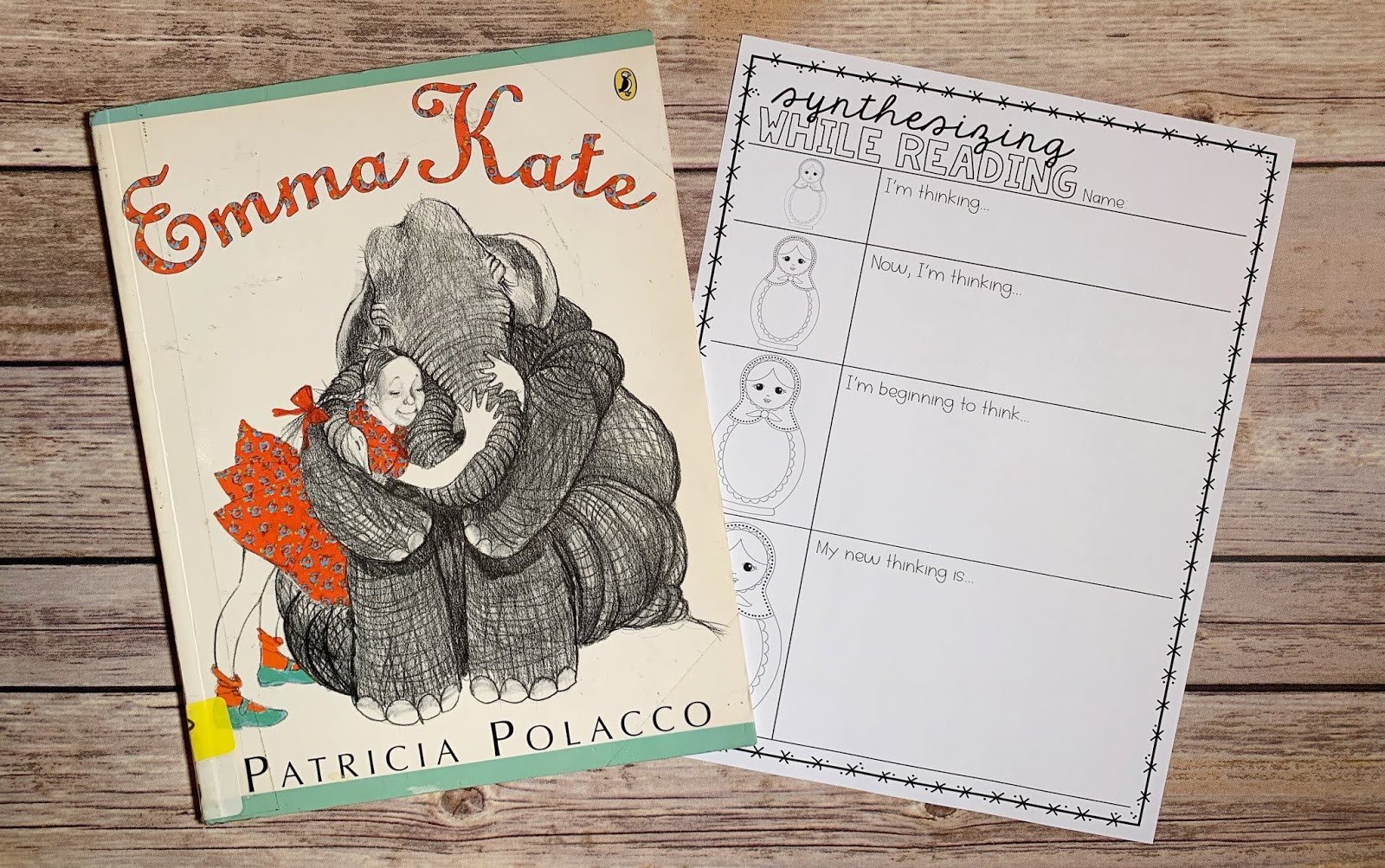 "Mentor Text with text ""Emma Kate"" and Graphic Organizer with text ""Synthesizing While Reading"""