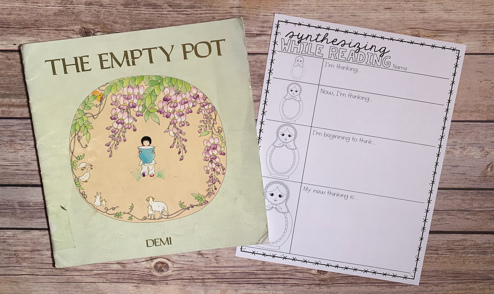 "Mentor Text with text ""The Empty Pot"" and Graphic Organizer with text ""Synthesizing While Reading"""