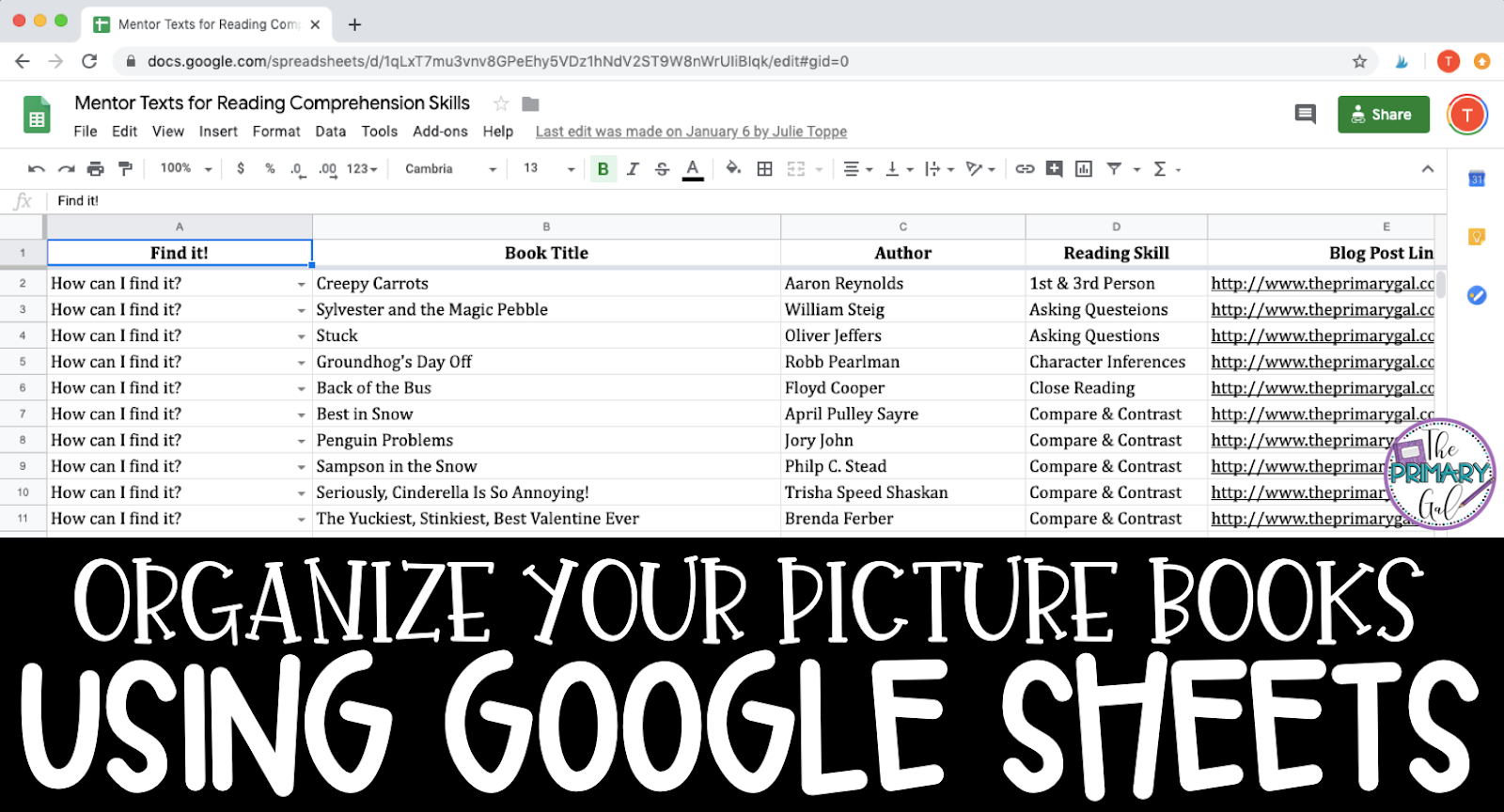 How to Organize Your Picture Books with a Google Sheet