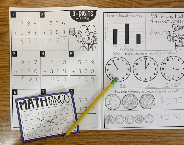 Math Intervention Workbook with Math Bingo and Pencil