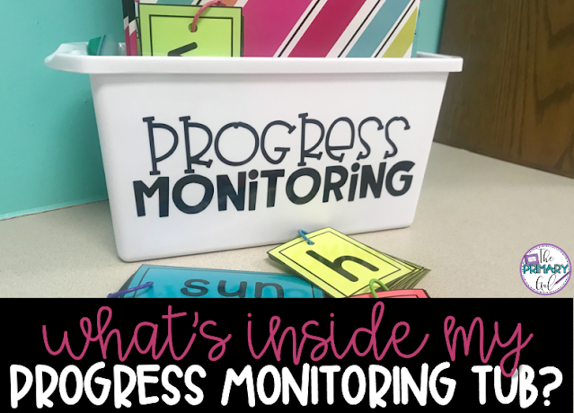 "Text "" What's Inside My Progress Monitoring Tub"" with Image of Progress Monitoring Tub"