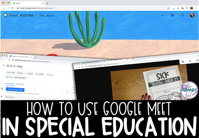 "Text"" How to Use Google Meet in Special Education"" with Image of Google Meet on a Computer Screen"