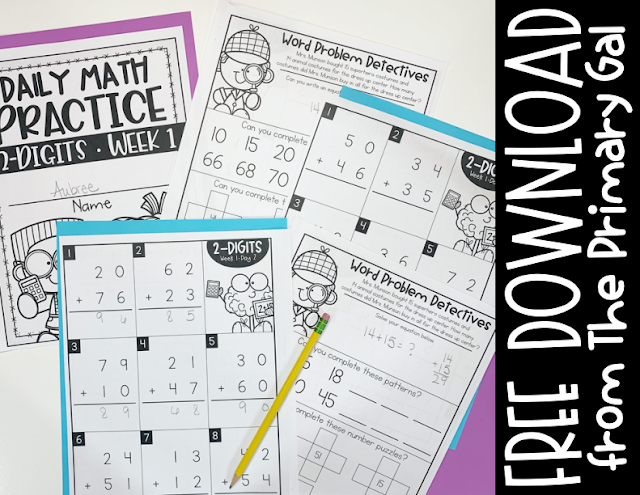 Freebie 2-Digit and 3-Digit Math Intervention Worksheets with Pencils text Free Download from The Primary Gal