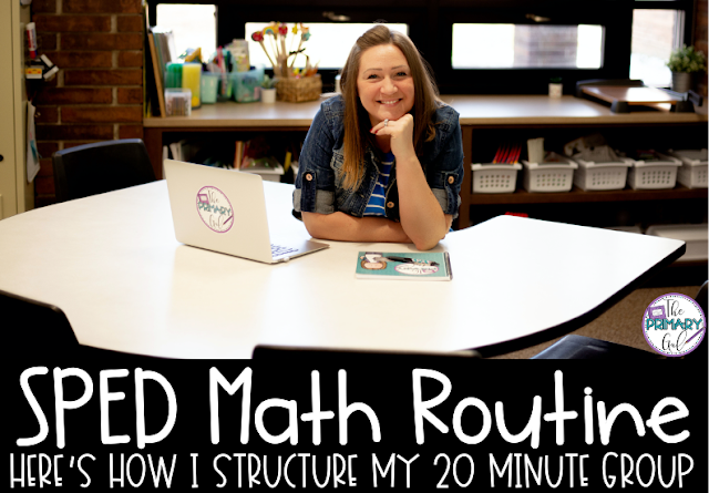 "Text ""SPED Math Routines: Here's How I Structure My 20 Minute Groups"" with Image of Amanda Sitting Behind a Desk"