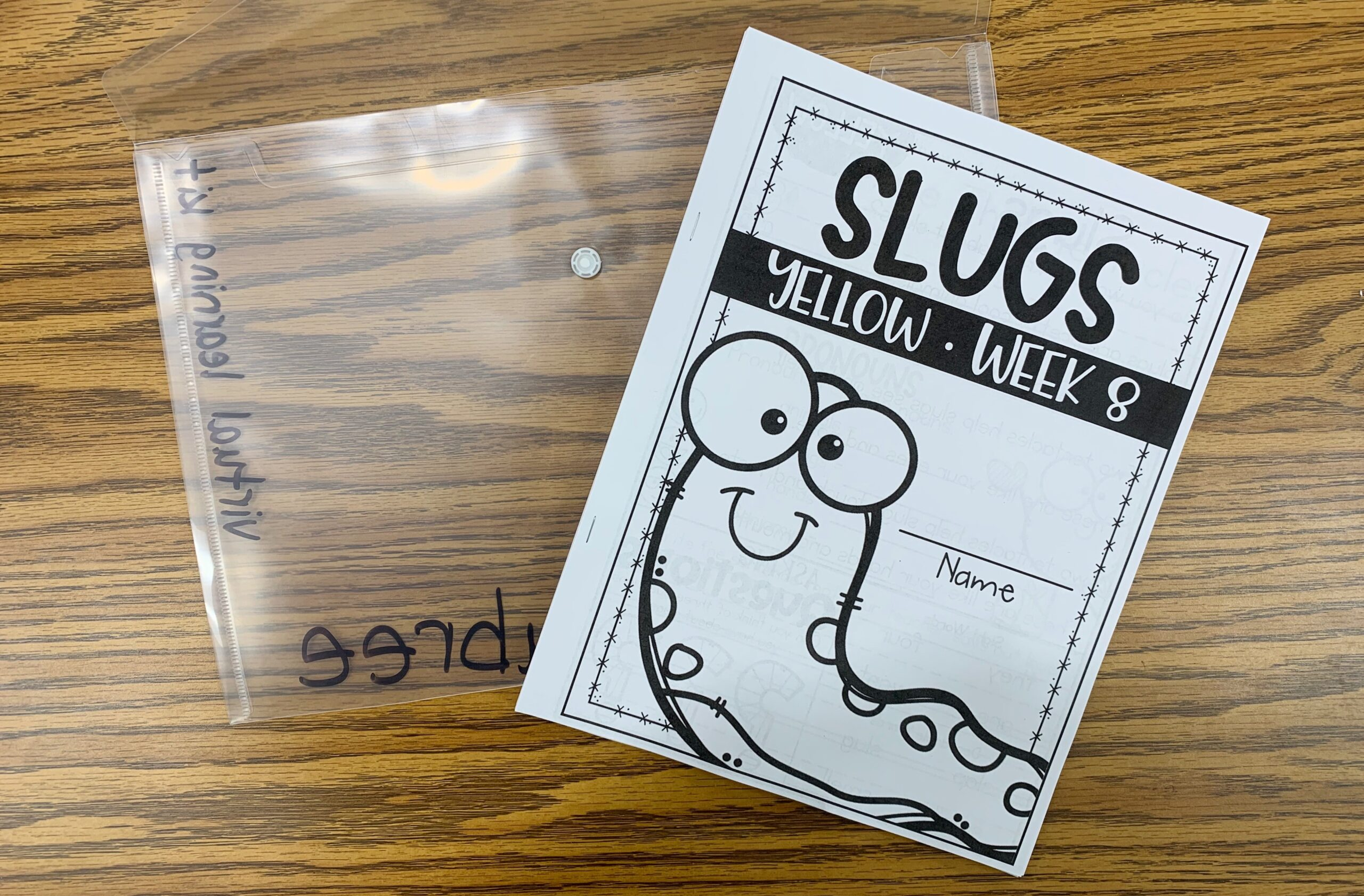Virtual Learning kit with Slugs yellow week 8 book from reading series