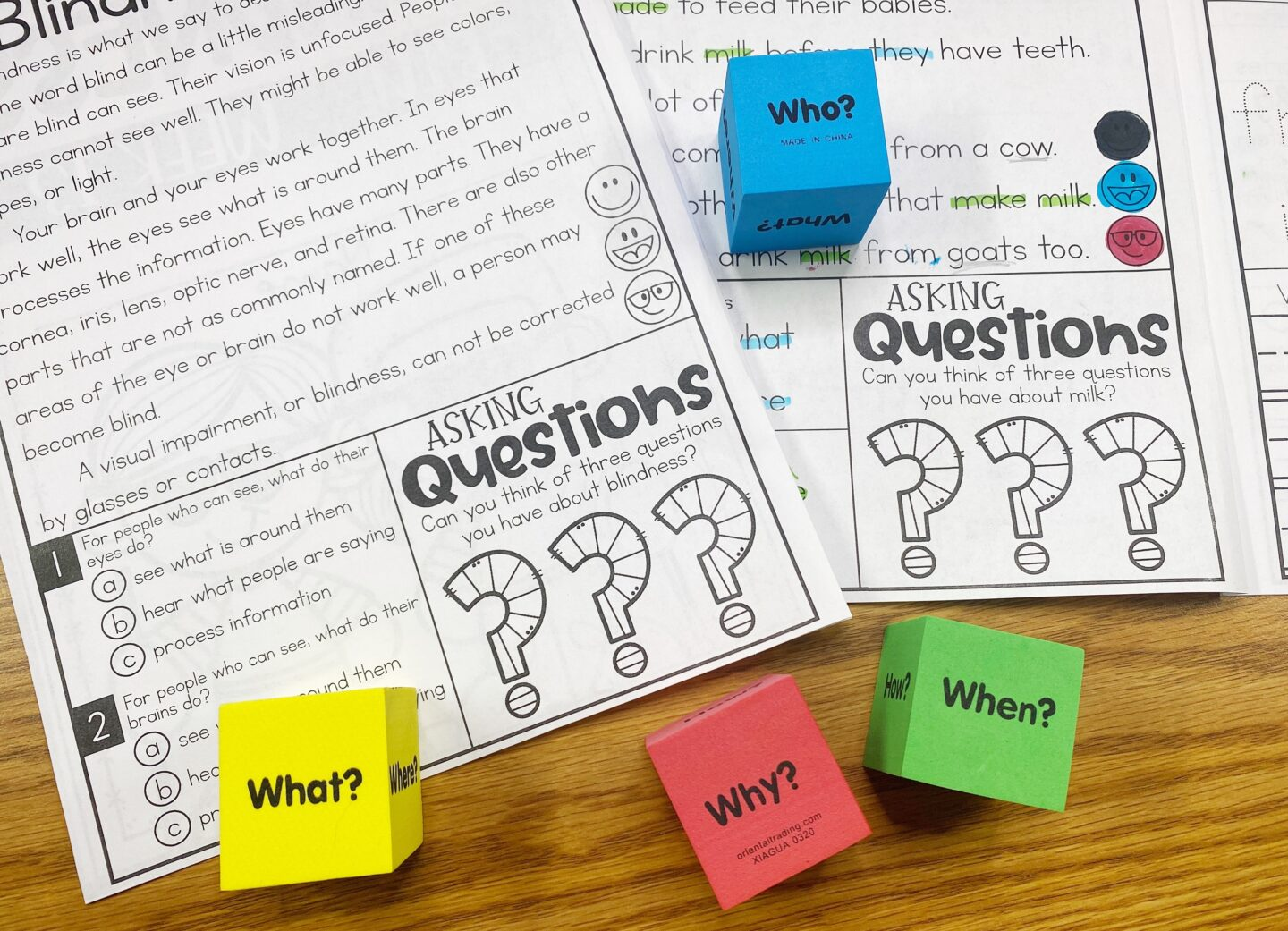 Image of Primary Gal's Resource Room Reading Series with Four Asking Questions Dice with the Words What? Why? When? Who? for a Quick Activities to do Before Reading