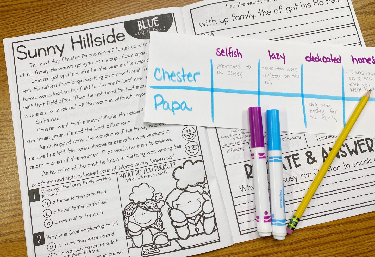 Image of Primary Gal's Resource Room Reading Series with a Character Trait Search, a Pencil, and Two Markers used for one of the 5 quick activities to do before reading