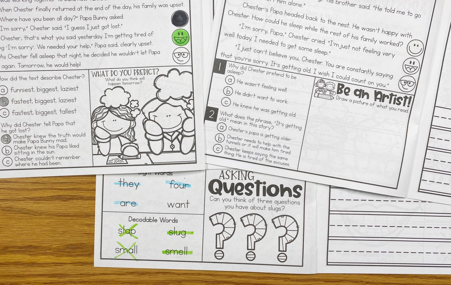 Image of Three of Primary Gal's Resource Room Reading Series Booklets on a Desk