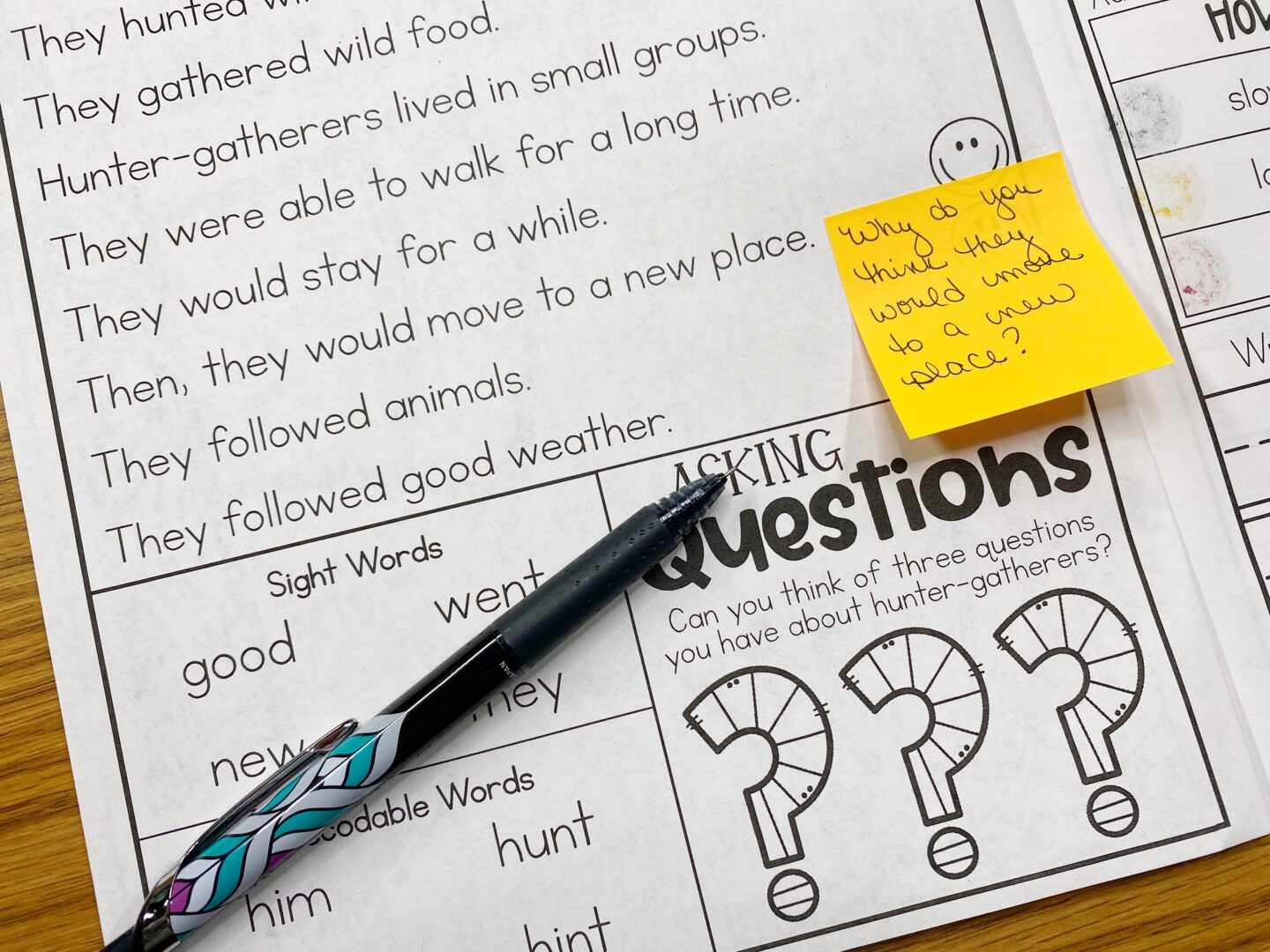 Image of Primary Gal's Resource Room Reading Series with a Pen and a Post-It Note. On the Post-It Note it says Why do you think they would make it to a new place?