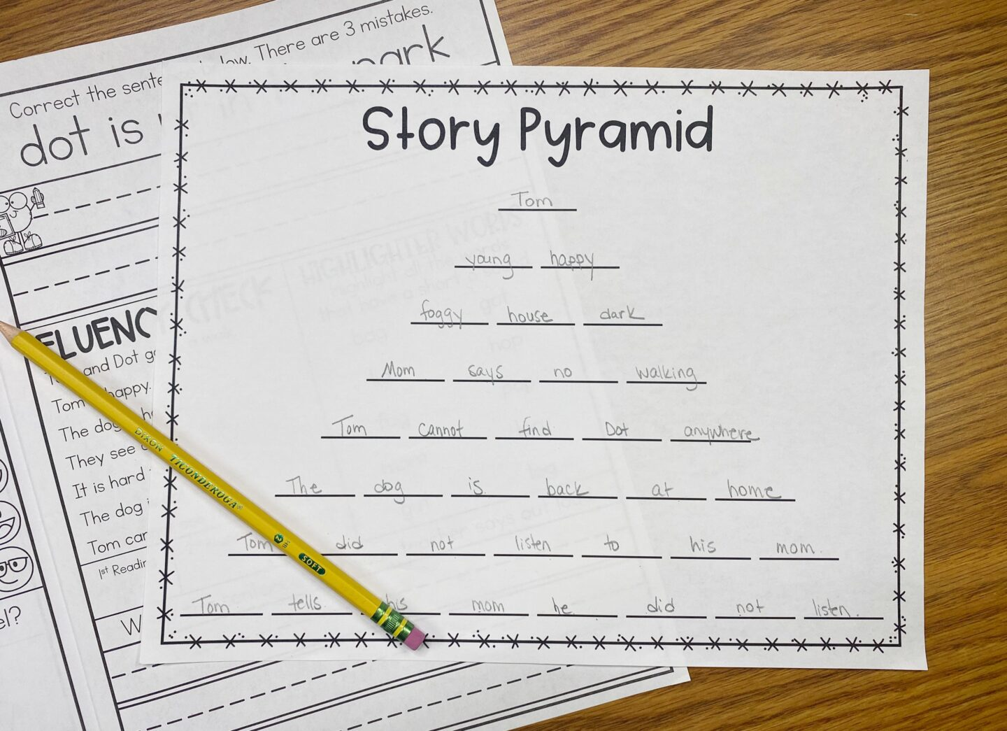Image of a Story Pyramid Worksheet used for Things to do After Reading Together in a Small Group
