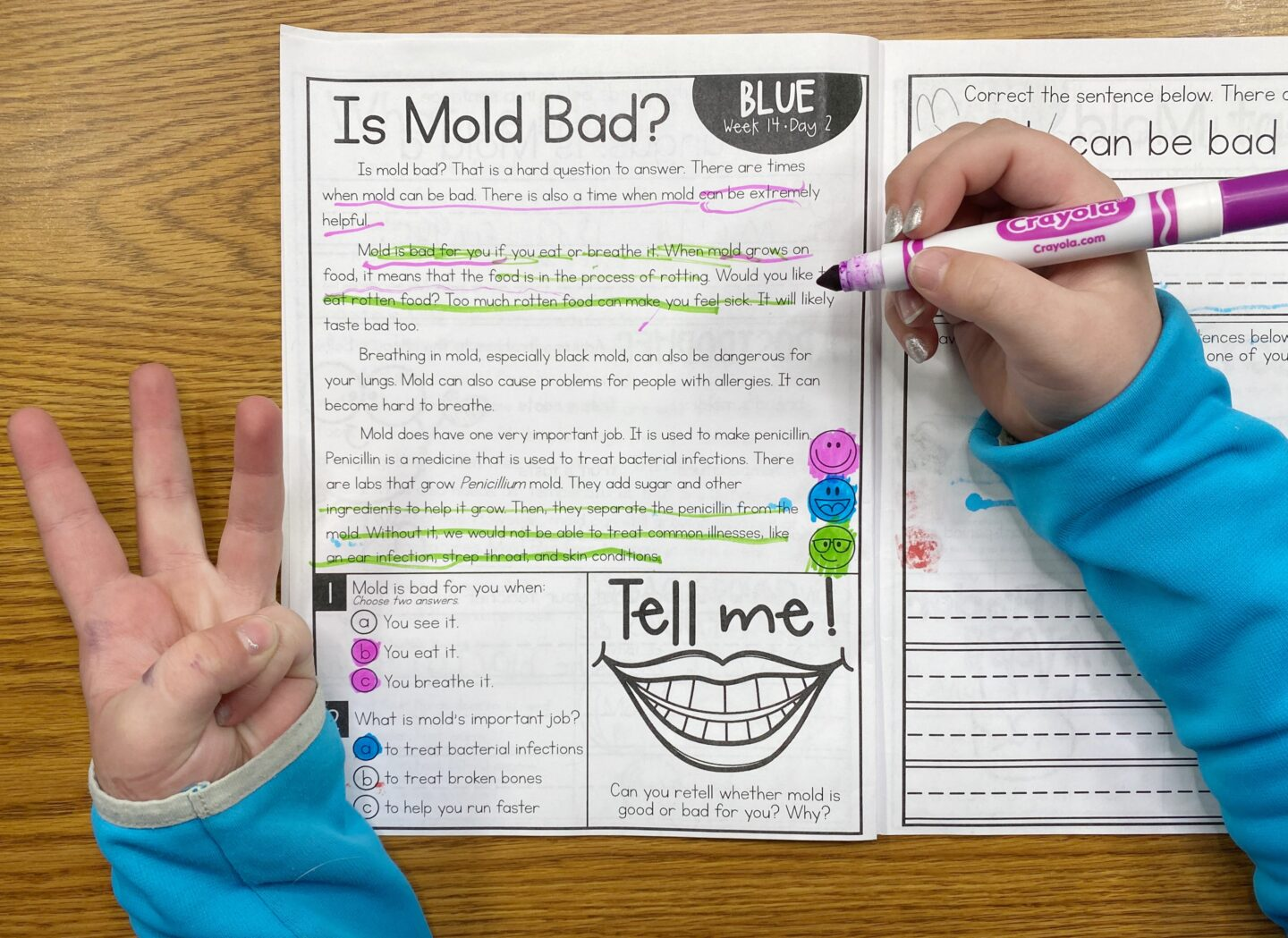 Image of a student holding a marker in one hand and holding up three fingers with the other hand while reading Is Mold Bad? From the Primary Gal's Resource Room Reading Series