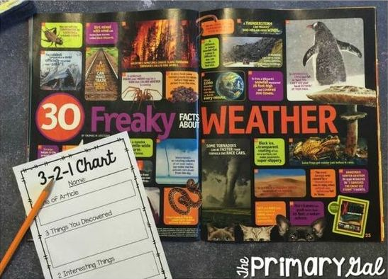 Image of a Page Titled 30 Freaky Facts about Weather, a Pencil, and a 3-2-1 Chart for one of the quick activities to do when reading together in a small group.