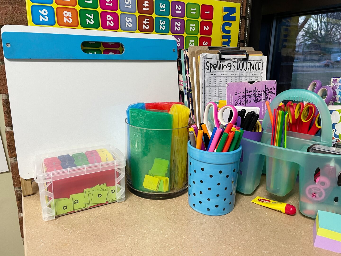 Image of a Desk with Storage options for Letter Tiles and Sandwich Bags